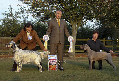 Best Puppy in Show and Reserve Best Puppy in Show with judge Mr Frank Kane