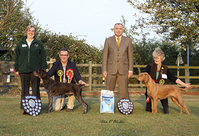 Best in Show and Reserve Best in Show with Judge Mr Frank Kane